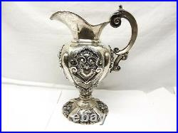 Vtg Portuguese 833 Silver Pitcher Ewer Ornate Repousse Hollowware Shell Portugal