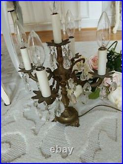 Vtg antique candelabra 5 Light ornate brass table lamp candle prisms crystal