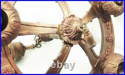 Vtg antique cast iron deco nouveau 5 bulb hanging light fixture ornate