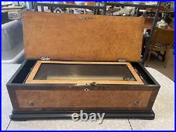 Works! Vintage Antique Large 28 Swiss Cylinder Music Box With Ornate Case